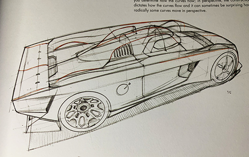 Drawing of a car in perspective